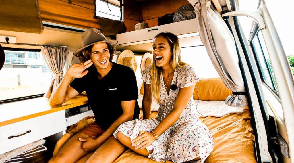 Van life Australia couple sit inside their van